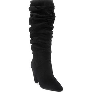 New Mari A Sianna black scrunch heeled boots